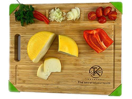 OKTHANNA Tabla DE Cortar Cocina Tabla DE Madera DE Bambu Tabla para Picar Grande Chopping Board Resistente AL Uso Profesional Tabla para Servir Y REGALARLA A LOS Queridos