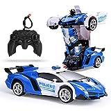 colmanda Voiture de Jouet Robot Déformée, RC Voiture Robot de Transformation, 2 en 1 Voiture Déformée pour Enfants Transformer One-Button Transforming Meilleurs Cadeaux pour Les Enfants Amusant
