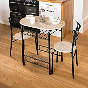 Christow 3 Piece Dining Set Breakfast Bar Kitchen Table Chairs Furniture:Hitspoker