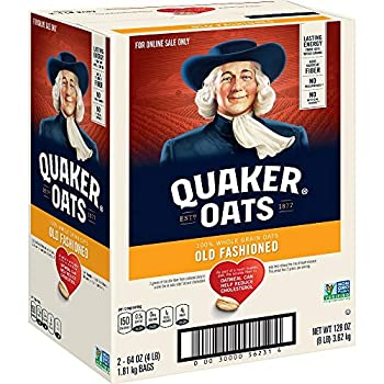 Quaker Old Fashioned Rolled Oats Non GMO Project Verified Two 64oz Bags in Box 90 Servings