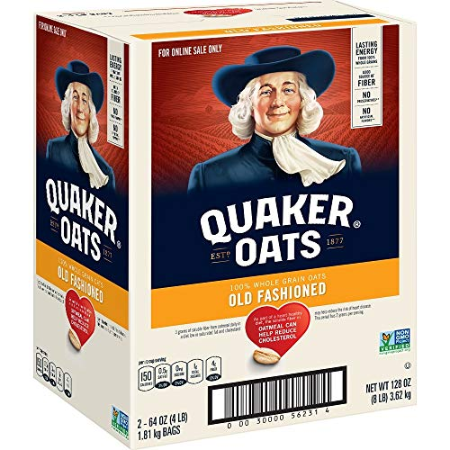 Quaker Old Fashioned Rolled Oats, Non GMO Project Verified, Two 64oz Bags in Box, 90 Servings