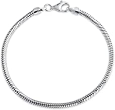 Sterling Silver Snake Chain Charm Bracelet with Lobster Clasp 6.5
