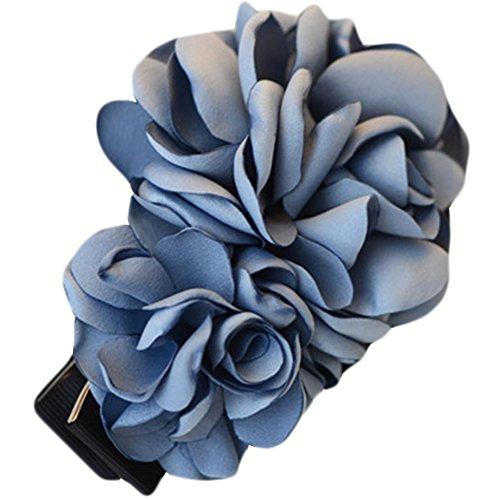La fleur de simulation Pinces à cheveux décorations de cheveux (Bleu Gris)