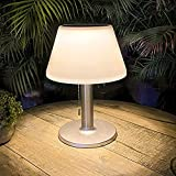 Solar Table Lamp Outdoor Indoor - 3 Lighting Modes, Eye-Caring LED Waterproof Cordless Solar Desk Lamp with Pull Chain for Outside Patio Garden Bedroom Living Room(White Modern Decor)