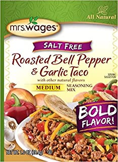 Mrs. Wages Salt Free Medium Roasted Seasoning Mix, Bell Pepper & Garlic, 1 Ounce (Pack of 12)