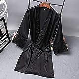 Frühling und Sommer Damen Mittelärmel Schlafsauna Badehaus Freizeit Bademantel Loungewear Home Kleidung Nachtwäsche-black1-XL