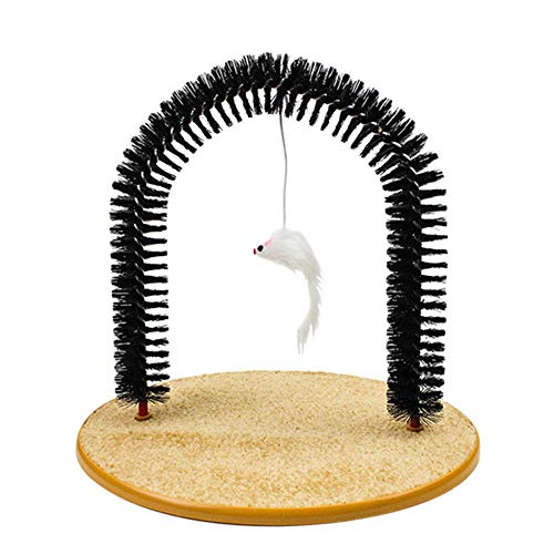 THE MIMI'S Cat Grooming Scratcher Toy - Self-Groomer Toy Massager Scratching Pet Cat Scratches Hair Brush and Catnip Interactive Kitten Toys