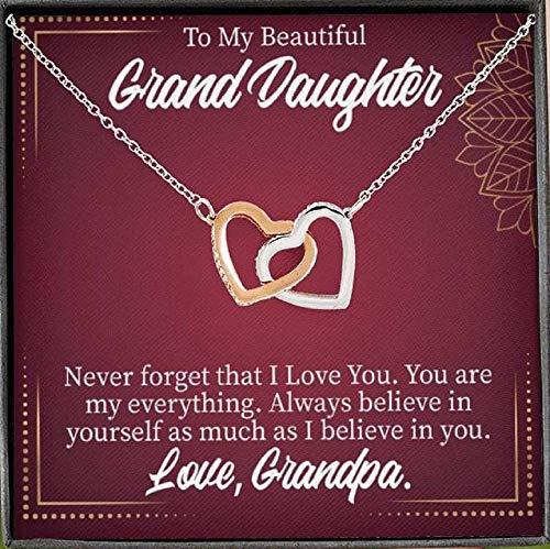 Express Your Love Gifts To My Granddaughter Never Forget Grandpa - Collar con colgante de oro rosa de 18 quilates, 40,6 cm, regalo para nieta