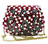 Bolso de metal de mosaico de piedra roja blanca hecha a mano de arte indio antiguo bolso de fiesta de embrague de metal nupcial para mujeres/niñas