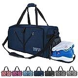 SUNPOW Faltbare Reisetasche, 85L Packbare Sporttasche mit Schuhfach Gym Fitness Tasche für Herren...