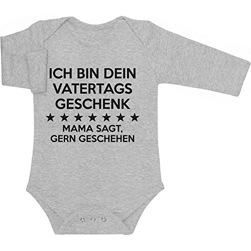 Shirtgeil Ich Bin Dein Vatertagsgeschenk Mama SAGT Gerngeschehen Baby Langarm Body 6-12 Monate Grau
