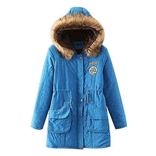 Dihope Dames Warm Winter Parka Jas Fleece Gevoerd met Faux Fur Hood