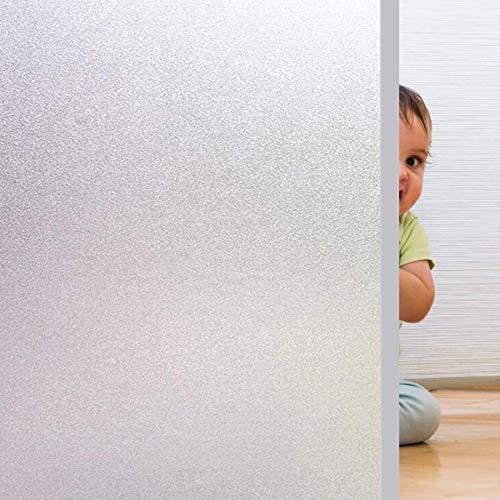 Rwest X Fensterfolie Selbsthaftend Blickdicht Sichtschutzfolie Fenster Milchglasfolie Statische Fensterfolien Anti-UV Folie Für Zuhause Badzimmer oder Büro,Matt,90 X 400 CM