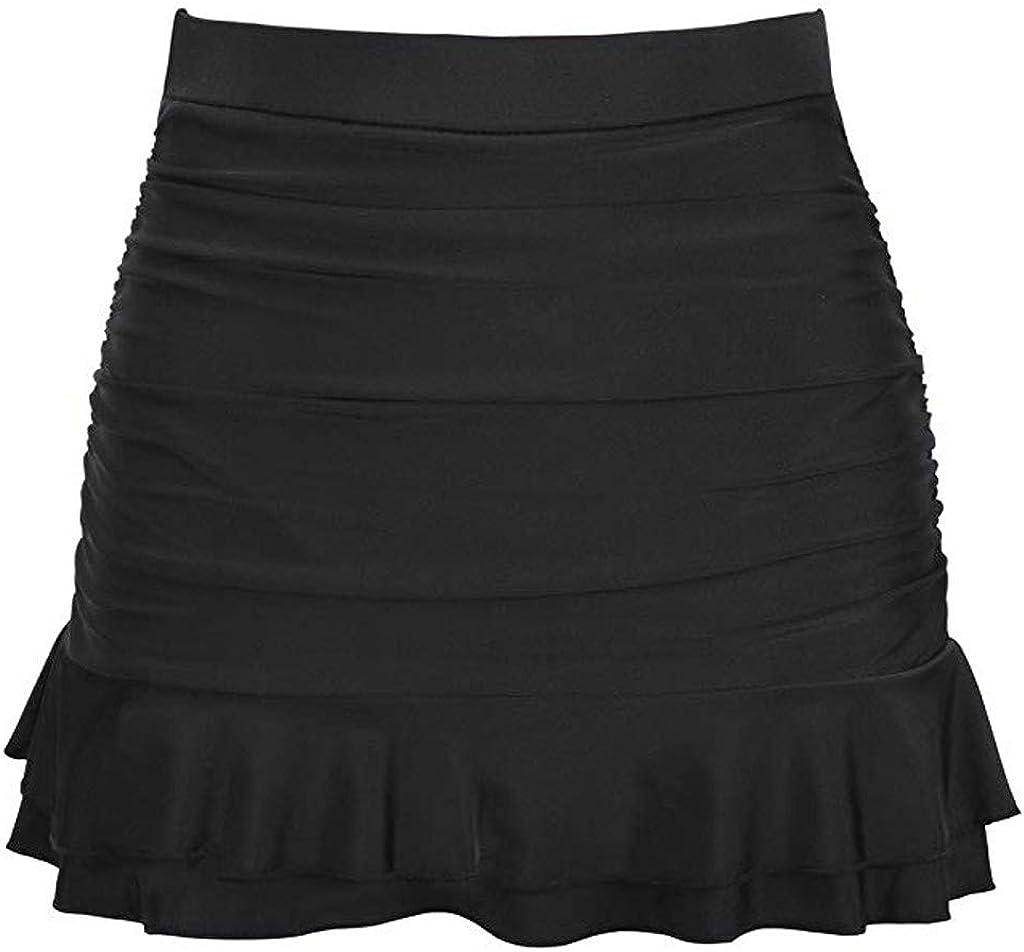 Clearance! Womens Sexy Ruffles Swimsuit Skirted Bikini Bottom High Waisted Shirred Swimwear Short Skort with Panty