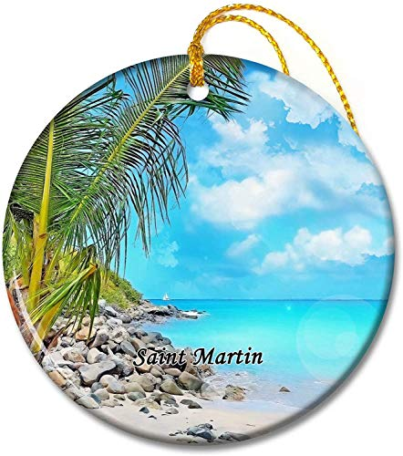 Saint Martin Ornaments Simpson Bay Saint Martin Tree Pendant 2.8 inch Ceramic Round Holiday Ornament Pandent for Family Friends