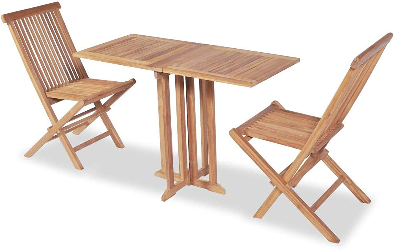 VidaXL Teak 3PC Balcony Dining Breakfast Set Folding Table Chairs Outdoor Garden