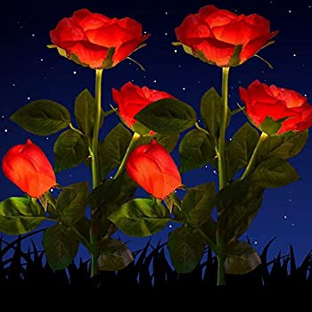 Solar Rose Lights Outdoor Solar Garden Stake Lights,2 Pack Solar Flowers Lights Outdoor Garden Waterproof LED Roses Flowers Lights Yard Decorations Outdoor Color Changing  Red