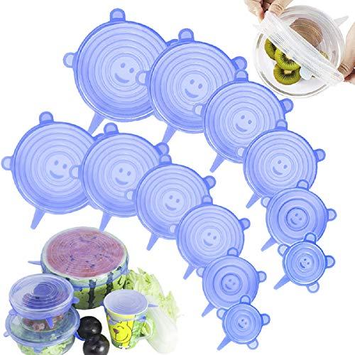 Artbisons Coperchi Elastici in Silicone Magic Lid Coperchio Flessibile Riutilizzabile per Alimenti da 12 Confezioni Coperchi (12Pack Blu)