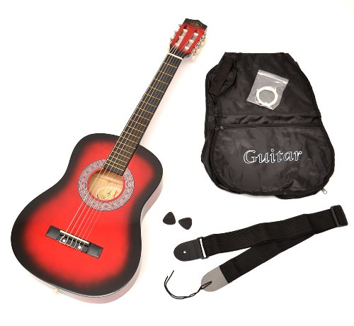 ts-ideen 5209 Kindergitarre Akustik Gitarre in der 1/2 Größe in Rot für circa 6 - 9 Jahre mit Zubehörset: Gitarrentasche, Gurt und Ersatzsaiten