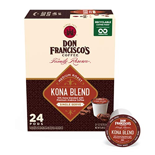 Don Francisco's Kona Blend Medium Roast Coffee Pods - 24 Count - Recyclable Single-Serve Coffee Pods, Compatible with your K-Cup Keurig Coffee Maker (Including 2.0)