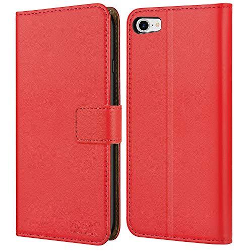 HOOMIL Handyhülle für iPhone 8 Hülle Leder Tasche Flip Hülle Schutzhülle Kompatibel mit Apple iPhone 8/7/SE 2020 Cover (4,7 Zoll) - Rot