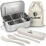 ecoFAIR - NEU - Premium Edelstahl Brotdose - 800ml dichte Lunchbox mit Besteck Set aus Weizenmaterial - PLASTIKFREI - Auslaufsichere Brotzeitdose, ideal für Kinder & Erwachsene.