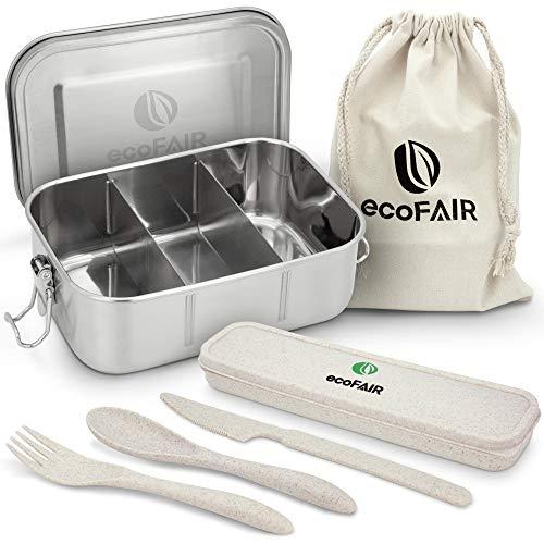 ecoFAIR Edelstahl Brotdose - 800ml Lunchbox mit Besteck Set aus Weizenmaterial - inklusive praktischem Aufbewahrungsbeutel aus 100% Baumwolle - PLASTIKFREI - E-Book mit Rezepten geschenkt