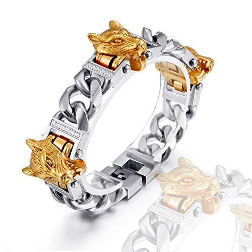 Norse Viking 18K Real Gold Bracelet, Stainless Steel Celtic Fenrir Wolf Head Jewelry, Vacuum Plating Punk Locomotive Wristband, Robust And Durable, 21CM/8.3INCH,Silver