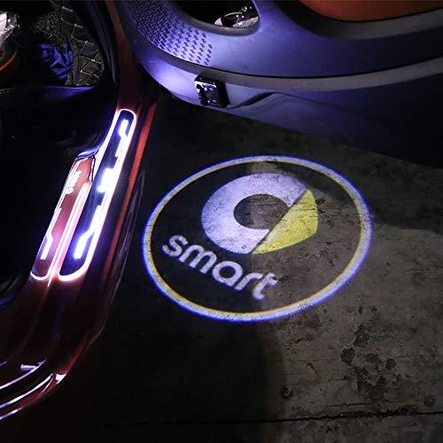 ZHANGDAN Autotür LED Logo Beleuchtung Projektion Licht Türbeleuchtung Willkommen Einstiegsbeleuchtung, Autotür Laser Projektor Lampe Dekoration Styling Zubehör für Smart 450 451 453 Fortwo Forfour