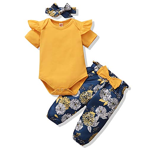 Renotemy Toddler Girl Summer Clothes Fall Spring Outfits Short Sleeve Ruffle Top+Pants 3 PCS Cute Baby Girl Clothes 12-18 Months
