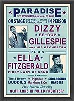 ポスター デニース ローレン Dizzy Gillespie and Ella Fitzgerald at Paradise 1947 額装品 ウッドベーシックフレーム(ブラック)