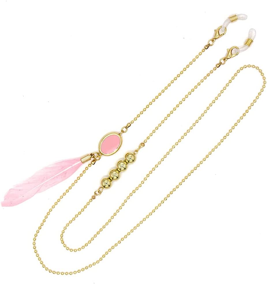 WJCCY Bohemia Pink Feather Glasses Chain Round Beads Lanyard Hold Straps Cords Sunglasses Women Accessories (Color : A, Size : Length-70CM)