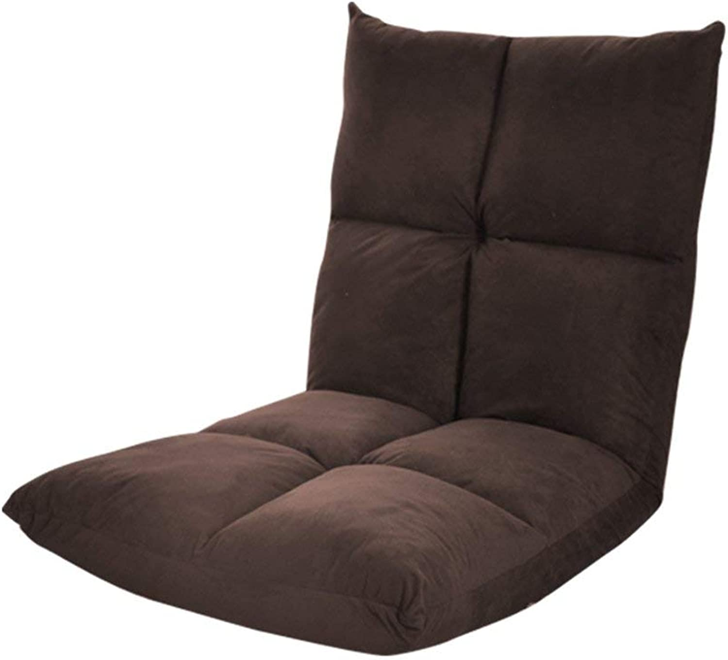 Sun Lounger Adjustable Floor Gaming 14-Position Cushioned Folding Lazy Recliner Beige Brown (color   Brown)
