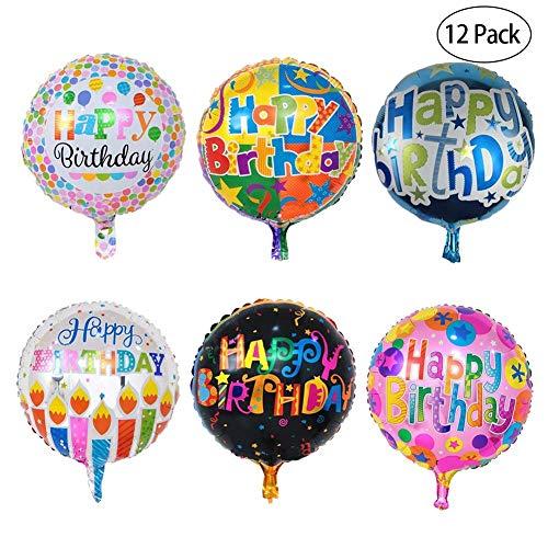 Kyrieval 12 STK Happy Birthday Luftballons Geburtstagballons Folienballon Konfetti Ballon Grburtstag deko geeignet für Geburtstagsfeier, Kindergeburtstagparty