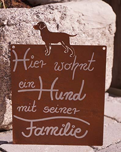 Rostalgie Edelrost Tafel Hund mit Spruch Hier wohnt EIN Hund 25 x 15 cm Schild