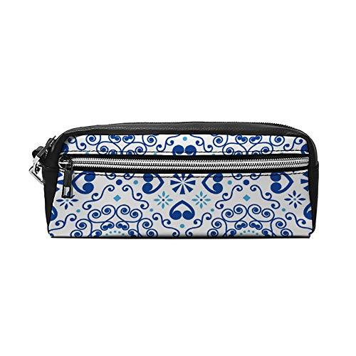 Portugees of Spaans Tegel Azulejos Patroon PU Lederen Potlood Case Make-up Bag Cosmetische Tas Potlood Pouch met Rits Reizen Toilettas voor Vrouwen Meisjes