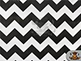 Polycotton Printed Fabric Large Chevron BLACK WHITE / 60' Wide / Sold by the yard