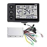 Krystallove Ebike Controller Speed Power LCD-Display Geeignet für Elektrofahrräder, Autos und Motorroller, 24-V-48-V-wasserdichtes LCD-Display Brushless-Controller-Kit für...