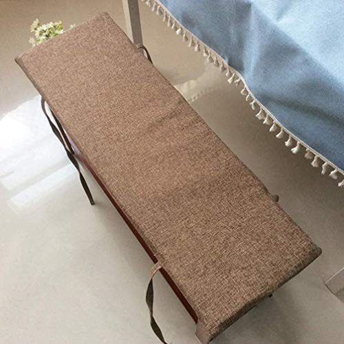 POETRY Anti Slip Bench Cushion with Tie Soft Lounger Seat Cushion Swing Bench Cushion Large 2 Seater Garden Seat Cushion (Brown 100x30cm)