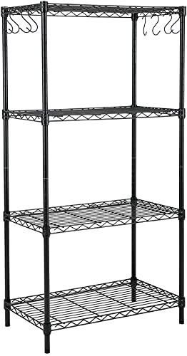 new arrival EFINE 4-Shelf Shelving Unit with 8 Hooks, Adjustable, Carbon Steel Wire Shelves, 150lbs Loading Capacity Per outlet online sale Shelf, Shelving Units and popular Storage for Kitchen and Garage (23.6W x 14D x 47H) Black outlet online sale