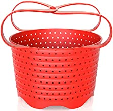 Avokado Silicone Steamer Basket for 6qt Instant Pot [3qt, 8qt avail], Ninja Foodi, Other Pressure Cookers and Instant Pot Accessories - Perfect Pressure Cooker Accessory Protects Non-Stick IP Inserts - Rust and Dent Free - 6QT, Red