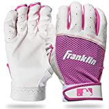 Franklin Sports Youth Teeball Batting Gloves - Youth Flex - Kids Batting Gloves for Teeball, Baseball, Softball - Pink/White - Medium, 21206F2
