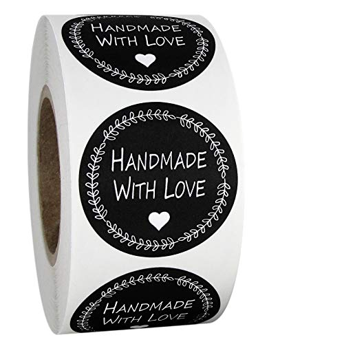 1.5  Inch Round Handmade with Love Stickers in Black and White, 500 Labels per Roll.