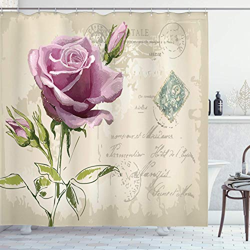 Viowr22iso Fabric Shower Curtain Liner with Hooks Rose Vintage Postcar