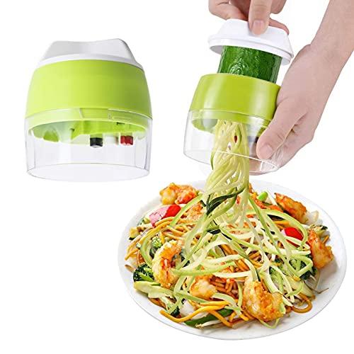 LxwSin Coupe Légumes Spirale, Spiraliseur de Légumes, Spiraliseur à Légume Manuel Multifonction 4 en 1 pour...