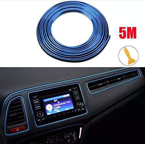 Auto Zierleiste -DIY Innenraum Dekoration durch flexible Streifen - einfach und ohne Vorkenntnisse - passend für alle Automarken - 5m Rolle (BLAU METALLIC)