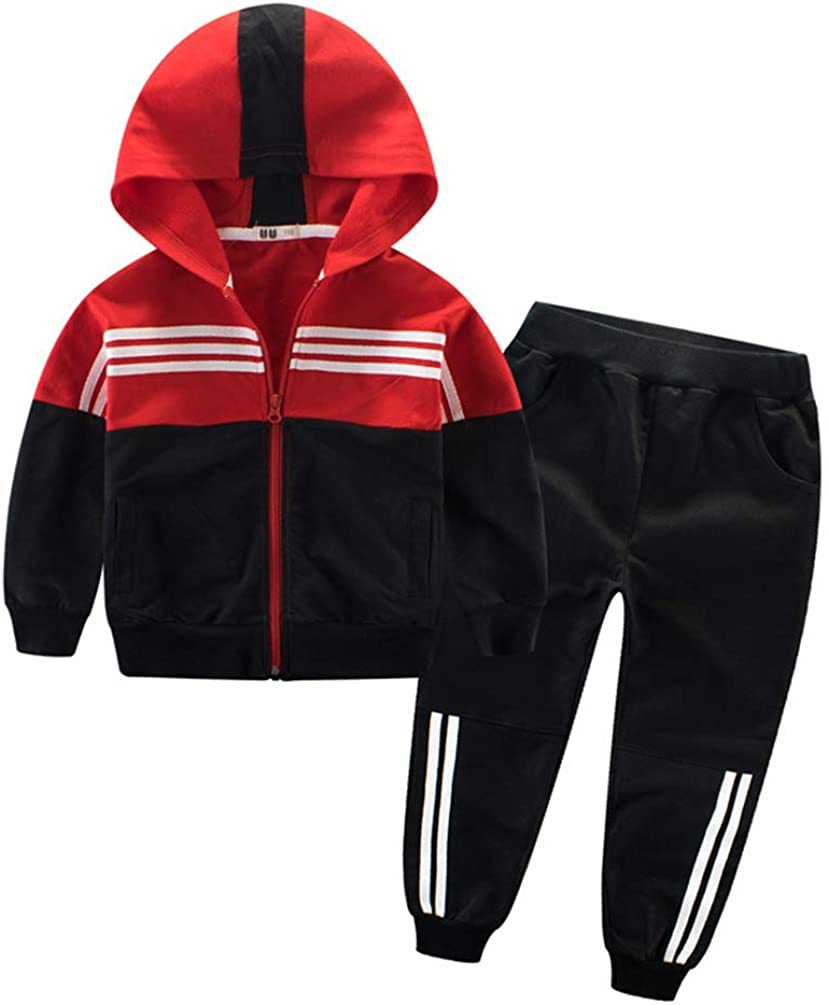 AMMENGBEI Boys Casual Tracksuit Long Sleeve Color Block Hoodie Jacket Sweatsuit Pants Outfit Set 3-11 Years