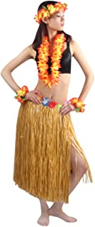 5pcs/Set Women's Hawaiian Luau Elastic Grass Hula Skirt 80cm