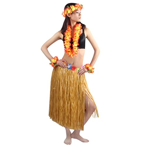 1881172e198 5pcs Set Women s Hawaiian Luau Elastic Grass Hula Skirt 80cm