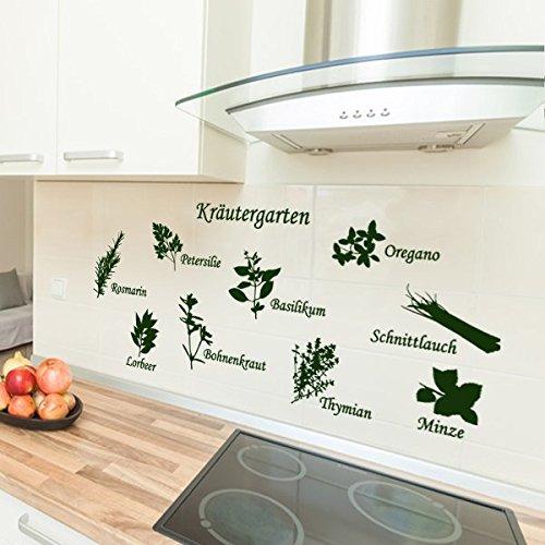 denoda® Kräutergarten - Wandtattoo Dunkelgrün 62 x 25 cm (Wandsticker Wanddekoration Wohndeko Wohnzimmer Kinderzimmer Schlafzimmer Wand Aufkleber)